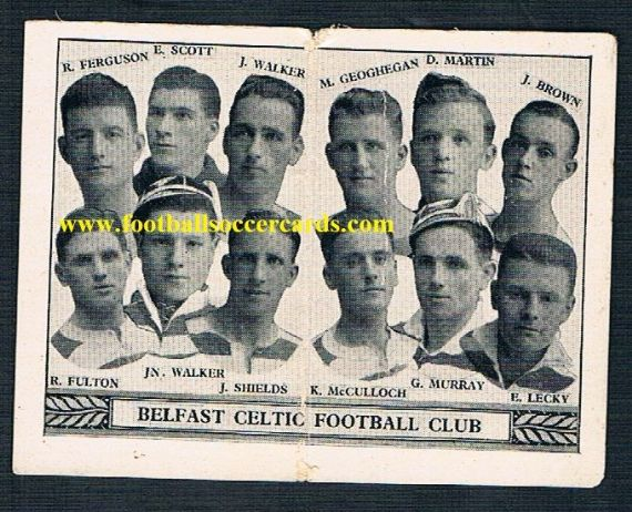 1934 Belfast Celtic folding card by Barratt & Co, crease but immensely rare!